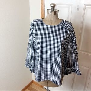 Halogen Gingham Black & White Check Blouse